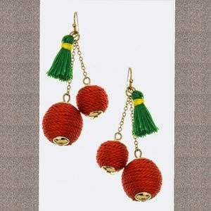 Jewelry - Tassel & Yarn Ball Cherry Earrings